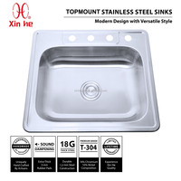 25x22 inch Drop-in cUPC Stainless Steel Top Mount Kitchen Sink with 4 Four Holes