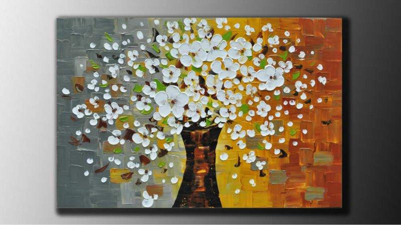 Arte abstracto del paisaje pinturas al óleo de los árboles de alta ...