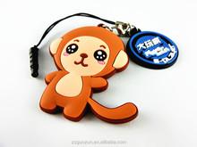 Multi Tool Keychain Promotional gift custom rubber keychain advertising design Monkey Shape pvc keychain with Earphone Plug