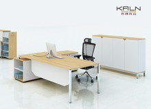 NK hot selling new competitive price good quality custom made chromed leg melamine L shape manager table workstations