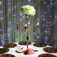 H78cm Tall Wholesale crystal Wedding Candelabra Golden Plated Centerpiece flower stand
