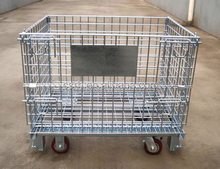 Stacking Wheeled Wire Mesh Conatiner RH-C-U02 Folding Storage Cage