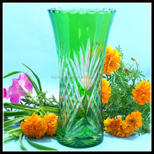 hand blown green colored art glass vase