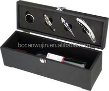 One bottle black MDF wooden gift box for wine bottle opener set