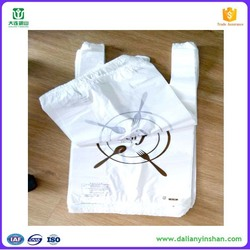 plastic t-shirt bag for restaurant food with customized designed