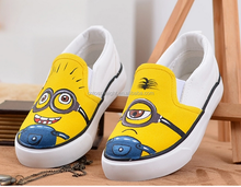 Children Canvas Shoes 2015 Autumn Hand Painted Boys Girls Casual shoes Despicable Me Minions Sneakers for kids