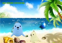 LED Cartoon Animal Keychain sea lion Keyring with sound LED Flashlight Toy Keychain