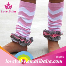 Pink white and grey leg warmer with satin ruffles