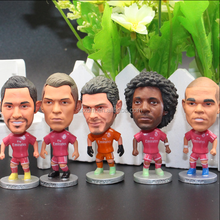 Custom 10.5cm plastic soccer player figurine,custom make pvc soccer star figures