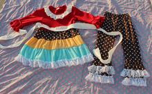 Hot sale baby girls fall elegant maxi set teen girls korean halter long sleeve set tank top and lace ruffle polka dots pant set