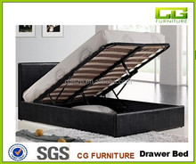 4FT OR 5FT OR 4FT6 Black or white or white color ttoman Gas-Lift Up Storage Bed