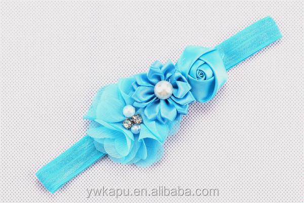 Moda çiçek tığ saç bandı, bebek headbands