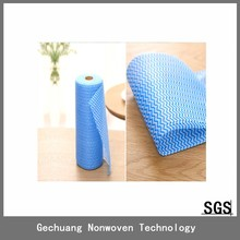 high quality disposable spunlace non woven simple green wipes with wave pattern 25pcs/roll guangdong
