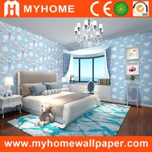 Light Blue wall paint import brand pvc kids wall paper