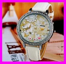 ingrosso polymer clay handmade guardare cristallo in pelle bianca per le ragazze hd2248 mini orologio
