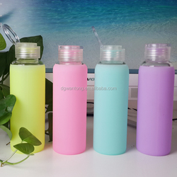 Fashion sport silicone ice water glass bottle cover
