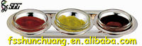 Gold/Silver Plated Stainless Steel Sauce Plate/Jam Dish/Spice Stand with 3 Small Plates For Catering