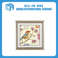 Animal print oil painting murals, Contemporary flowers and birds pattern adornment painting