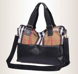 Retro canvas tote bag, Custom canvas handbag,Canvas shoulder bag, Canvas bag with leather trim, Canvas shopping bag