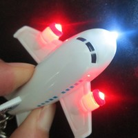 Customize plane shape keychain led llaveros with sound function