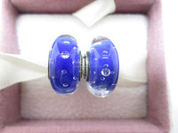 Sterling Silver S925 Oxidised Silver Murano Cubic Zirconia Blue Charm Bead Sterling Core Bead Murano Glass Bead Beads