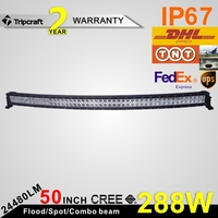 "50"" 288W CURVED LED LIGHT BAR 12V CURVED OFF ROAD LED LIGHT BAR car accessories"