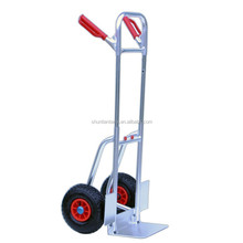 Foldable hand trolley with adjustable handle