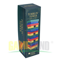 Classic Games Colored Wooden Tumbling Tower Game In Cardboard Gift Box