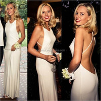 2014 High Quality Elegant Sexy Prom Evening Scoop Backless Long Mermaid Prom Dresses