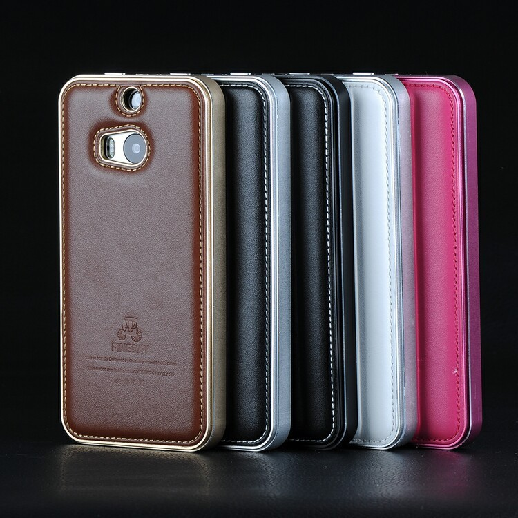 iMatch Luxury Aluminum Metal Bumper Premium Genuine Leather Back Cover Case for HTC One M8