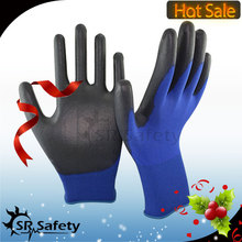 SRSafety 18 gauge nylon PU glove/PU work gloves/PU hand gloves