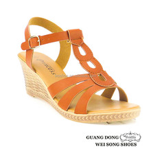 high quality best priuce PVC outsole ankle strap buckle wedge open toe high heeled sandals