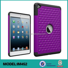 Bling diamond shockproof PC silicone tablet cover for iPad Mini 4