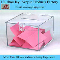 Customized transparent acrylic raffle box, lockable acrylic raffle box
