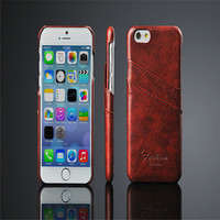 Vintage Insert Card PU Leather Coated Back Shell Cell Phone Covers For iPhone 6