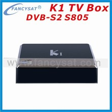 k1 s2 android stb Quad core android tv box kitkat 4.4 Amlogic S805 K1 DVB S2 quad core android smart tv receiver box mit cccam