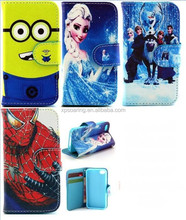 Princesss wallet case for iphone 5G 5S 5C, minion PU pouch case for iphone 4S iphone 6