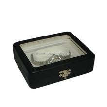 The Cube Luxurious Black PU Wrapped Tin Mirror Watch Box