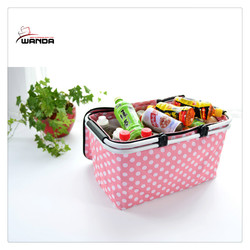 600D pink with white dots shopping cooler bag with basket aluminum handle