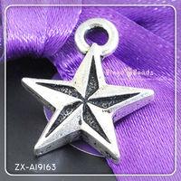 8mm Antique Bronze Vintage Brass 3D Mini Five-pointed Pentagonal Stars Pentagons Double Sided Charms Pendants