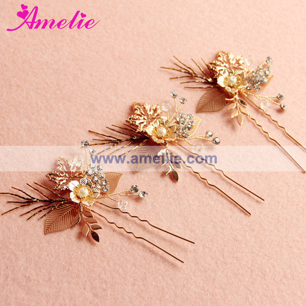 A15007 Rose Gold Plated Coroa De Novia Bride Crown and Hairpins (1).jpg