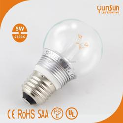 G45 led bulb patent 3 lens 360 degree 5W e27 LED Bulb, Clear LED Bulb, 2700k