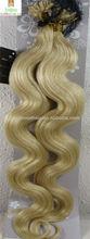 "22"" pervian virgin Human Hair Extensions Nail Tip 100g Body wave #60 White Blonde"