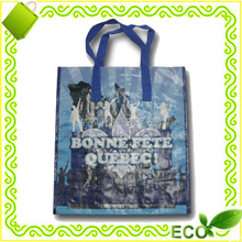 customized eco-friendly glossy laminated polypropylene woven promotion tote shop bag online