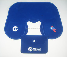 Nice shape can private branding pvc flocking inflatable neck pillow