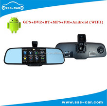 Android Rearview Mirror GPS with Dual Lens 1080P Car DVR camera