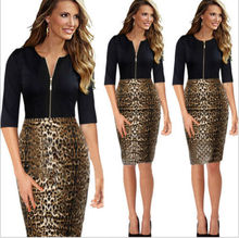 SEXY OFFICE WEAR DRESS, LADIES OFFICE DRESS 2014, LEOPARD DRESS