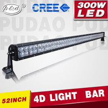 4D lens CE RoHs IP68 dual row 300W curved led lightbar