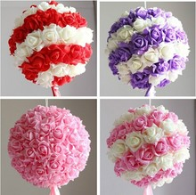 PE Foam Romantic Kissing Pomander wholesale artificial hydrangea flowers rose Balls white/pink/red/blue Wedding bouquet A122