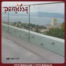 wall mounted tempered glass fence panels set for balcony